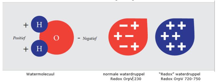 h2o waterdruppel en een redoxwaterdruppel