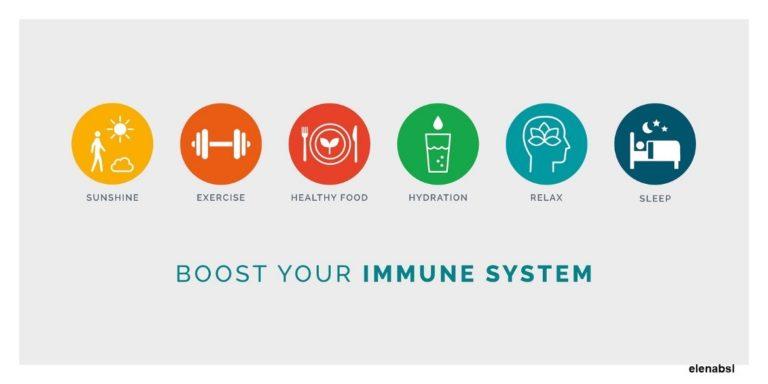 Boost je immuunsysteem door zon, gezonde voeding, beweging, voldoende vocht, ontspanning en slaap